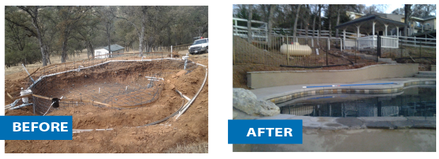 before and after pool construction